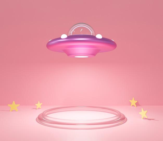 宇宙船の空飛ぶ円盤のかわいい3dレンダリング。パステルピンクの背景にufo漫画。
