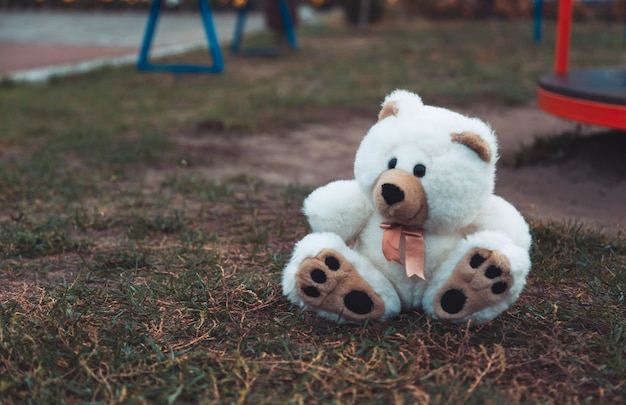Cute adorable lost abandoned soft plush stuffed children toy teddy bear sitting on ground street road