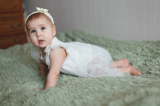 Cute adorable newborn baby of 3 moths with diapers
