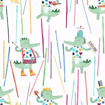 楽器を持ったかわいいワニ。水彩のシームレスなパターン。ファブリック、テキスタイル、保育園の壁紙の創造的な幼稚な背景。