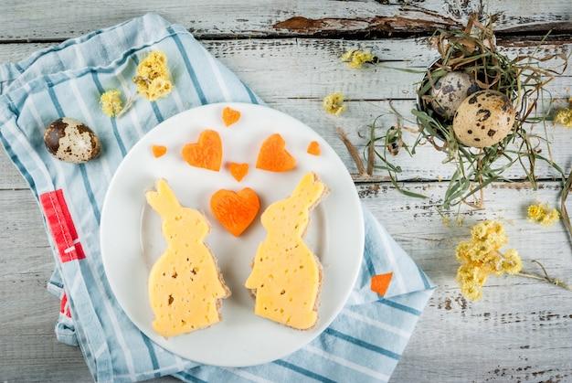 발렌타인 데이 또는 부활절을위한 귀엽고 재미있는 아침 식사