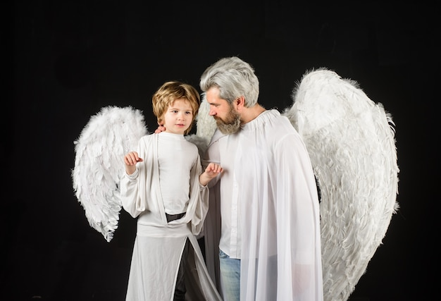 Cute angel gorgeous kid valentines day father and son angels fathers day little cupid boy and father
