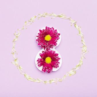 꽃 프레임의 귀여운 배치