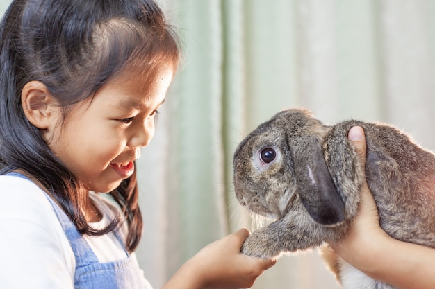 Cute asian child girl playing with cute holland rabbit with love and tenderness at easter festive