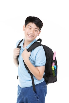 Cute asian child with school backpack
