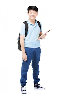 Cute asian child with school notebook