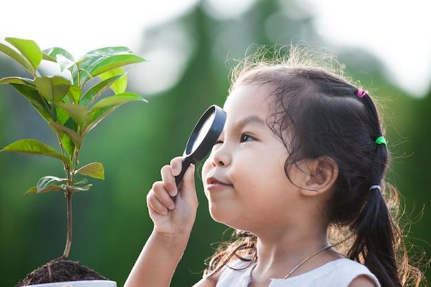 Симпатичные азии маленькая девочка, глядя через увеличительное стекло на молодых деревьев в парке