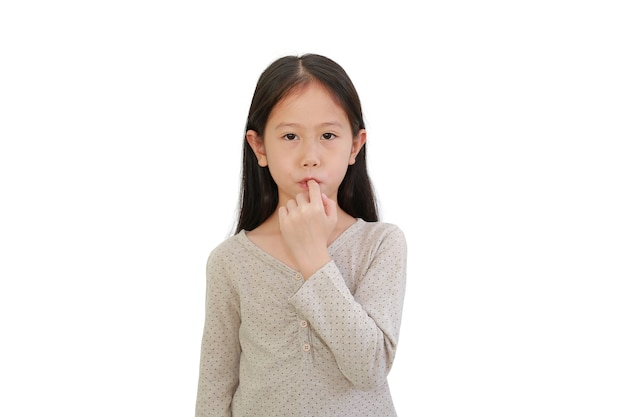 Cute asian little child girl sucking finger in his mouth isolated on white background.