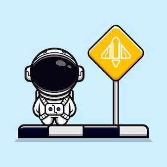 로켓을 기다리는 귀여운 우주 비행사