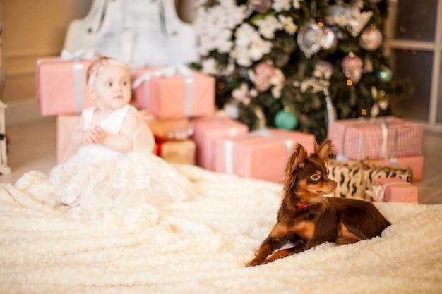 クリスマスの時期にかわいい赤ちゃんとおもちゃのテリア犬