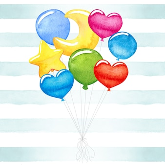 Cute baby, colorful, watercolor balloons