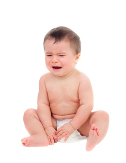 Cute baby in diaper crying