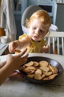 소박한 부엌에서 의자에 서서 집에서 만든 쿠키 크래커를 먹는 작은 드레스에 귀여운 아기 소녀