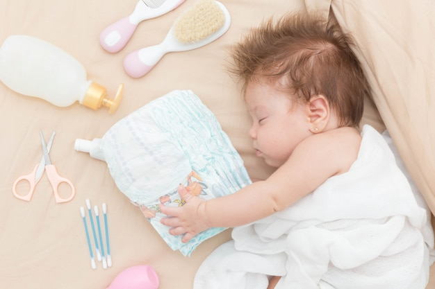 Cute baby girl sleeping safely.