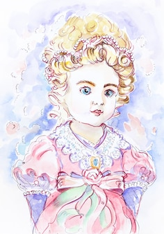 Cute baby princess. little girl watercolor illustration