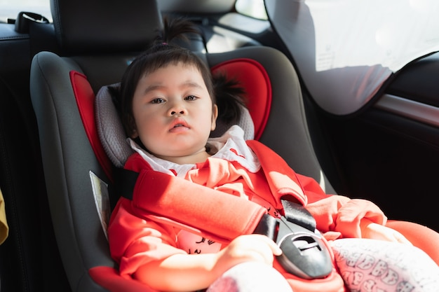 Cute baby sitting in a car safety seat