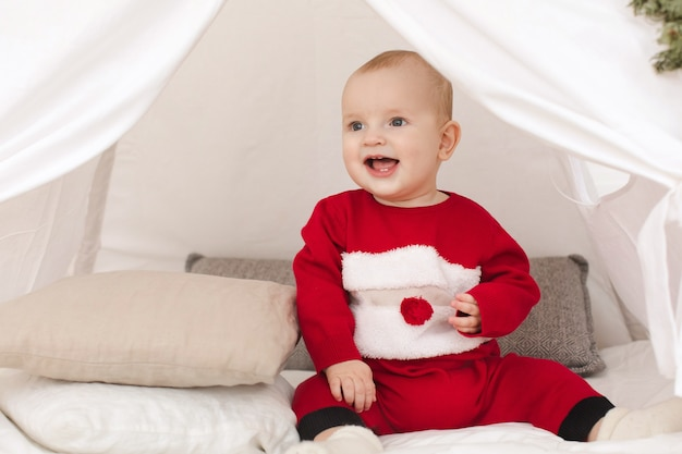 Cute baby in small tent
