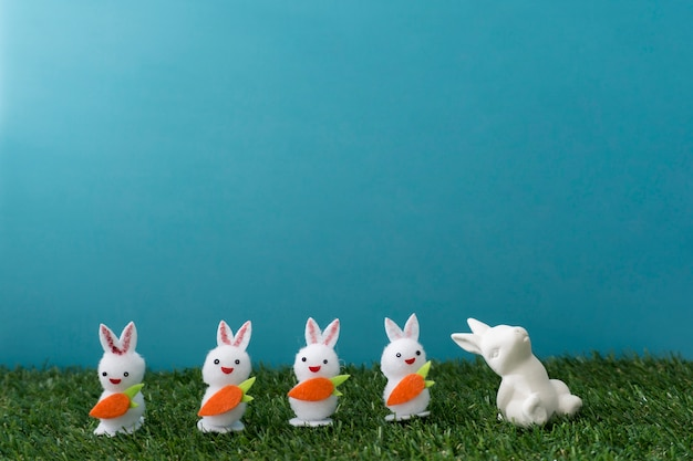 Cute background with five easter rabbits