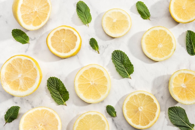 Cute background with slices of lemon