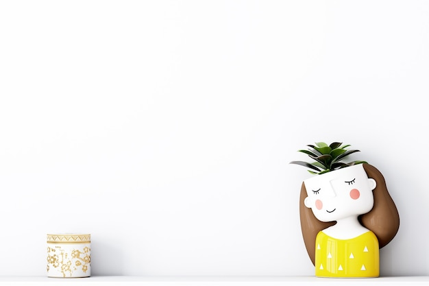 Cute background for your design with an adorable yellow potty girl Premium Photo