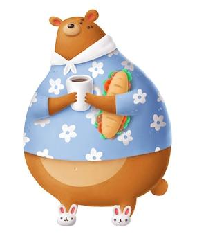 サンドイッチとかわいいクマ