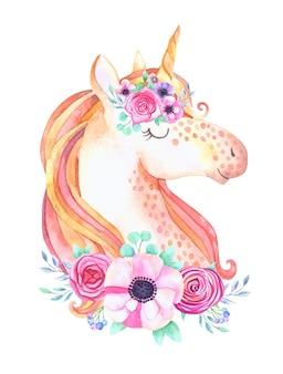 꽃과 함께 귀여운 아름다운 유니콘 머리