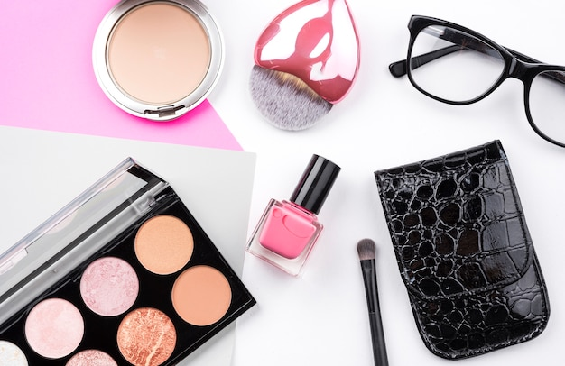Cute beauty products flat lay