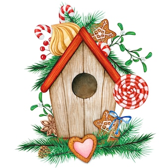Cute birdhouse with treats and pine branches