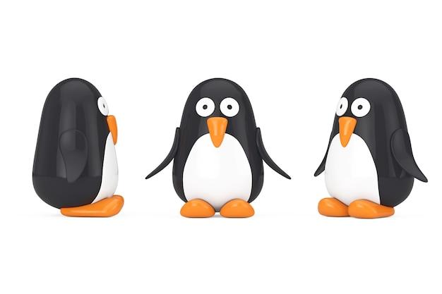 Милый черно-белый игрушечный мультяшный пингвин на белом фоне. 3d рендеринг