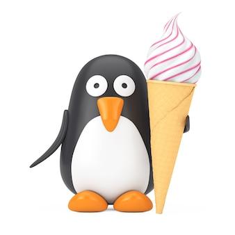 Симпатичный черно-белый игрушечный мультяшный пингвин с мягким мороженым подавать в вафельном хрустящем рожке для мороженого на белом фоне. 3d рендеринг