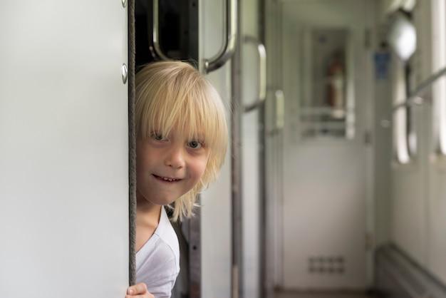 Симпатичный белокурый мальчик выглядывает из купе в железнодорожном вагоне
