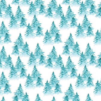 Cute blue watercolor seamless pattern with mess of coniferous fir trees