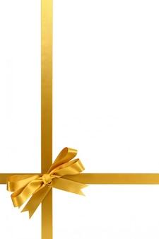 Золотой подарок ленты и лук вертикальный