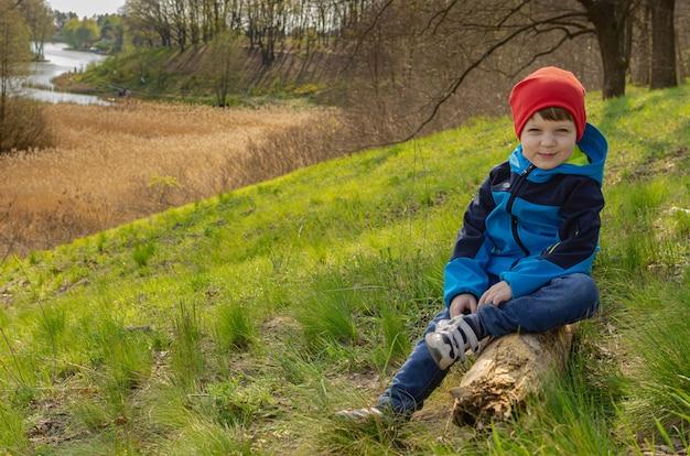 かわいい男の子4歳の男の子が丸太の丘の上に座って湖を見てください。子供と一緒に屋外で歩く家族のグリーンツーリズム