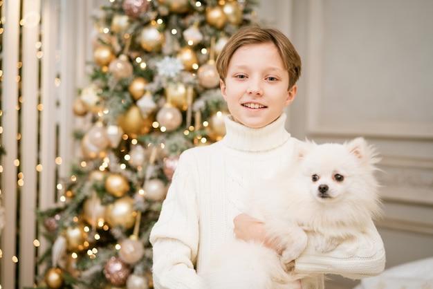 메리 크리스마스를 기대하며 강아지와 함께 크리스마스 트리에 있는 귀여운 소년 행복한 소년과 개가 그녀의 테를 안아줍니다...