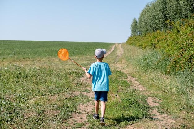 日当たりの良い牧草地でスクープネットで蝶を捕まえるかわいい男の子。自然の若い探検家。好奇心旺盛な子供のための夏のアクティビティ。