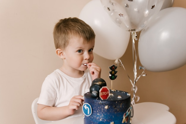 Cute boy celebrating his birthday