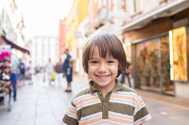 Cute boy in the city