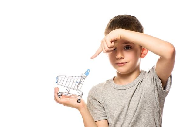 かわいい男の子は小さな金属のショッピングトロリーを保持しています。