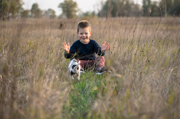 Милый мальчик играет со своей собакой на лугу