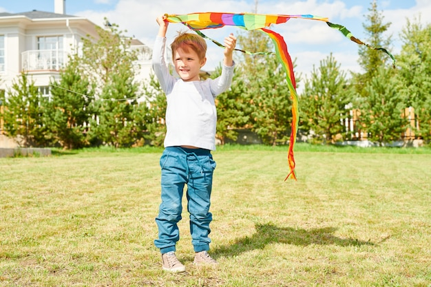 Cute boy playing with kite