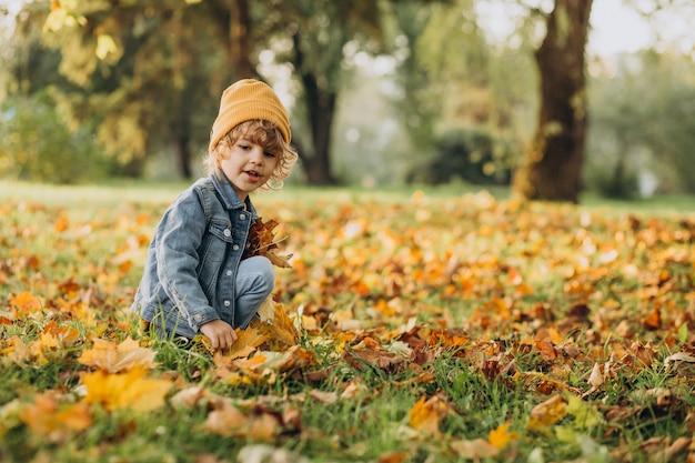 Ragazzo sveglio che gioca con le foglie nella sosta di autunno
