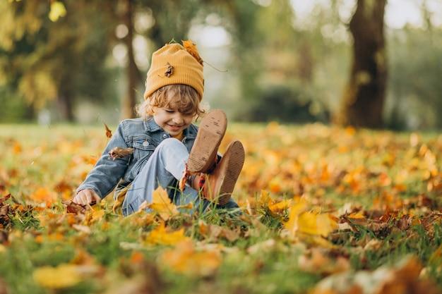 가 공원에서 잎 가지고 노는 귀여운 소년