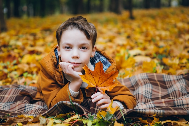 Cute boy walks and poses in a colorful autumn park