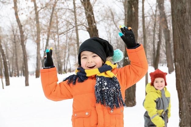겨울 방학에 눈 덮인 공원에서 노는 귀여운 소년