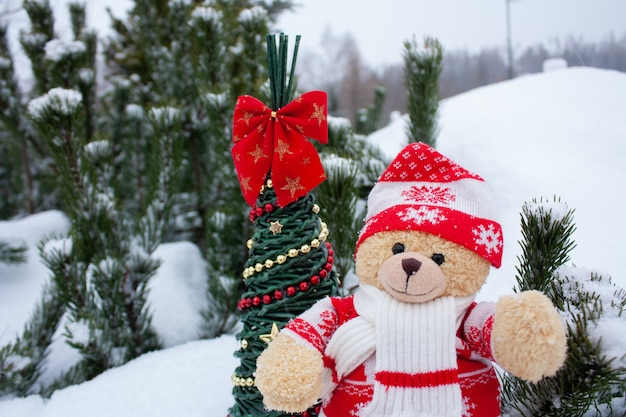 Cute brow teddy bear on white snow brackground