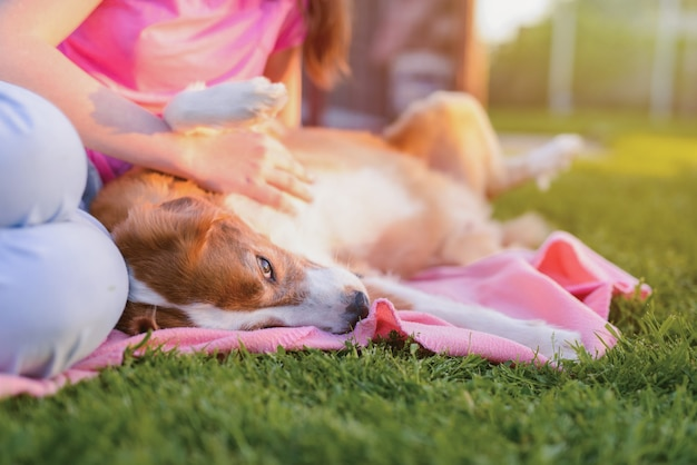 Милая коричневая собака лежа и обнимаются с девушкой на природе