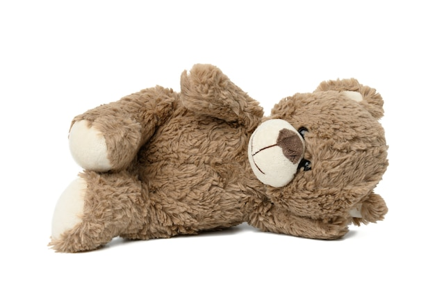 Cute brown teddy bear lies on white isolated background