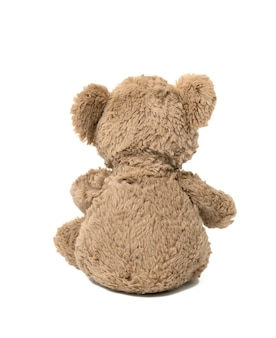 Cute brown teddy bear sitting back on white isolated background