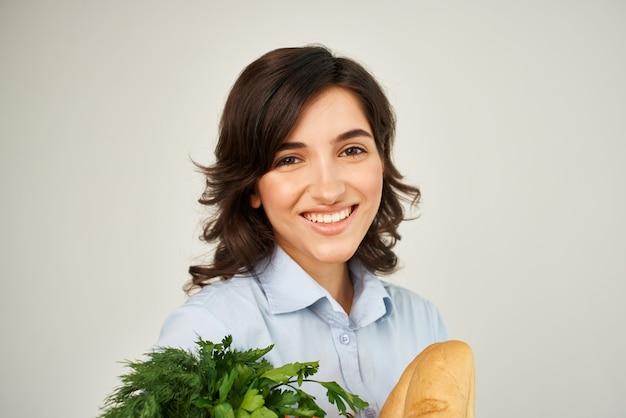 식료품 야채 건강 식품과 함께 귀여운 갈색 종이 가방